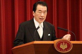 年頭記者会見に臨む菅直人首相