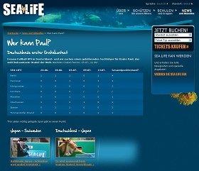 ドイツの水族館「シー・ライフ」のウェブサイト。ベルリンの「オフィラ」が独走している