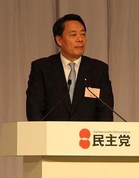 代表選で演説する海江田万里氏。決戦投票で敗れた