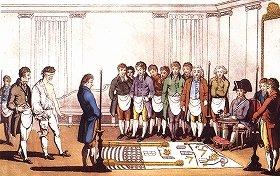 1800年ごろのフリーメイソン入会儀式(Wikimedia Commonsより)