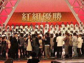 12月30日のリハーサルでは、たまたま「紅組が勝つ」という設定。紅組司会の井上真央さんは「明日も勝ちます!」と意気込んでいた(写真はリハーサル時)