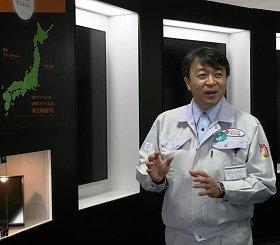 「CIS型は発電量の多さが特徴」と話すソーラーフロンティアの栗谷川氏