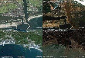 上 左: 宮城県 名取市 閖上(ゆりあげ) 2007年撮影 / 右: 同 2011 年 3 月 12 日 撮影<br /> 下 左: 宮城県 石巻市 谷川浜 2007 年撮影 / 右: 同 2011 年 3 月 12 日 撮影 (c)Google