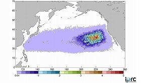 がれきは北太平洋上にたどり着くとの予想(IPRCのウェブサイトより)