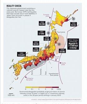 ゲラー教授が作成した「震災発生マップ」(ウェブサイトより)