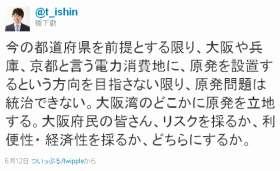「大阪湾に原発」府民に問う(写真は、橋下知事のツイッター)