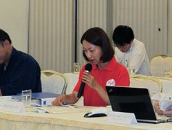調整会議にて発言する野際紗綾子。分野別調整会議の定期的な開催を提案した