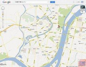 グーグルが公開を始めた平壌市内の地図。道路や地下鉄の駅の名前が書き込まれている