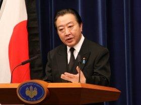記者会見に臨む野田佳彦首相