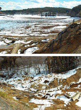 (上)藤沼ダムの現状。水が干上がった状態で、右下部分は土砂が崩落した様子が分かる/(下)大量のダムの水は、写真左側の下流へと一気に流出した