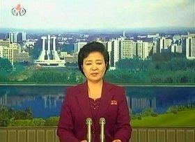 ロケットの打ち上げ失敗を伝える朝鮮中央テレビ