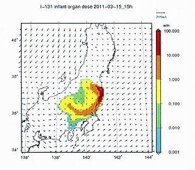 未公表だった資料の一部。2011年3月16日0時の放射性ヨウ素131の乳幼児臓器被ばく線量分布を予測している。予測図であり、実測図ではない