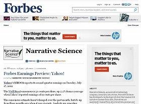 フォーブスの記事執筆者名は「ナラティブ・サイエンス」となっている