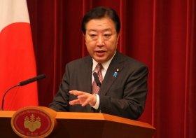 民主党代表選に出馬表明した野田佳彦首相