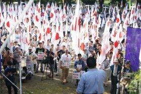 14時過ぎ、青山公園に集まった抗議活動参加者たち