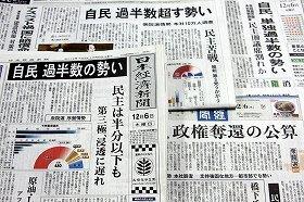 新聞各紙は自民党が議席を倍増させると予測している