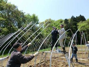 仮設住宅に暮らす「ひびきファーム」利用者の皆さま。力を合わせて、1日がかりでビニールハウスを組み立てることができました(宮城県東松島市、2012年5月13日)