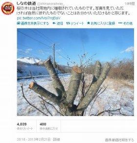 「桜の木、撮り鉄に勝手に切断された」 しなの鉄道ツイッター「炎上」で謝罪