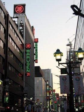 丸源ビルが建ち並ぶ並木通り(13年3月6日撮影)