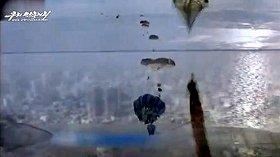 北朝鮮の宣伝機関が公開した動画。空挺部隊がソウルに降下する様子を表現しているようだ