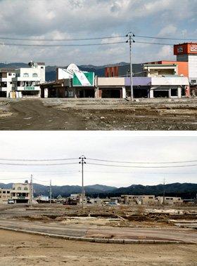 1年前は津波の被害を受けた建物の多くが残ったままだった南気仙沼駅前(写真上)。同じ場所は空き地が広がる光景に変わっていた