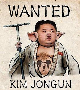 アノニマスが乗っ取ったとみられる「反帝民族民主戦線」のウェブサイト。猪八戒のイラストに金正恩第1書記の写真が合成されている