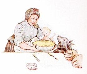 初期の版にあった、ピーターの父親が食卓に出される場面