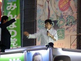 秋葉原で児ポ法について街頭演説(2013年6月12日撮影)