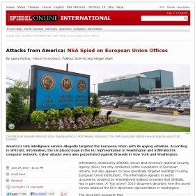 「アメリカからの攻撃」と報じた独シュピーゲル誌(画像はウェブ版)