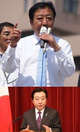 こんがり焼けた顔で、民主候補の応援演説に立つ野田前首相(9日撮影)。下は首相在任中(11年12月撮影)