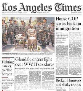 グレンデール市への「慰安婦像」設置決定を報じた11日のロサンゼルス・タイムズ