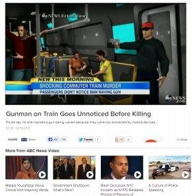 米ABCが作成した再現映像。乗客たちは拳銃男の存在に発砲まで気づかなかった(ABCウェブサイトより)