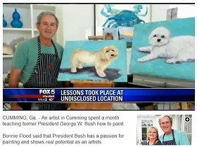 ブッシュ前大統領の「画家」ぶりを紹介した米国のテレビ番組(FOXテレビより)