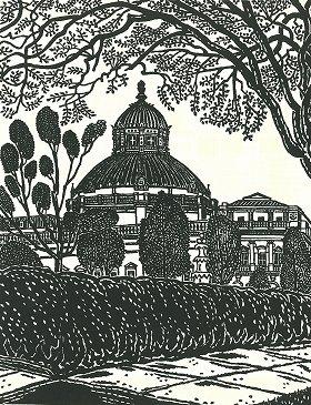 平塚運一「議会図書館ワシントンD.C.」(昭和41年作)