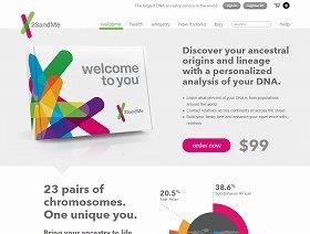 遺伝子検査は誰でも手軽に利用できるようになった。(画像は、「23andMe」のホームページ)