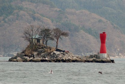 『ひょっこりひょうたん島』のモデルとされる蓬莱島。津波で破壊された灯台は再建された=大槌湾