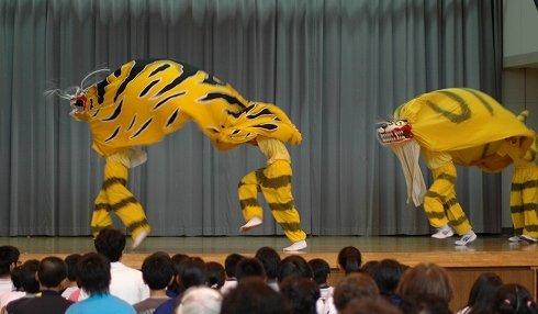 発表会では「吉里吉里虎舞」が勇壮に舞われた=2013年7月10日、大槌町立吉里吉里中学校の体育館