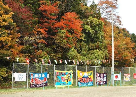 グラウンドで華やかさを競い合う紅葉と大漁旗=2014年11月2日、大槌町の大槌小・中学校仮設グラウンド