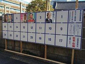 千代田区内のポスター掲示場。1月23日昼には主要候補者のポスターが出そろった