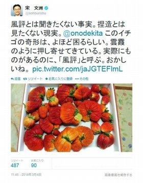 規格外イチゴを取り上げた宋氏のツイート