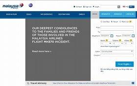 マレーシア航空のトップーページには「お悔み」の声明が掲げられている