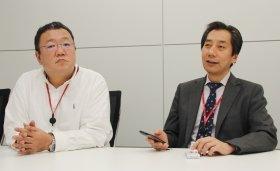 NTTドコモコンテンツビジネス推進部の秋元秀幸・ポータルサービス担当部長(右)、中島恵祐・ポータルサービス 第一ポータル推進担当課長(左)
