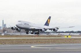 ルフトハンザ航空が導入した747-8型機。フランクフルトと9都市を結んでいる(ルフトハンザ航空提供)