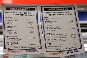 4月1日から駅売りのスポーツ・夕刊紙の大半が10円値上がりした(都内のキオスクで)