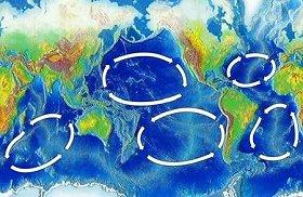 世界の5つの還流。図左下のインド洋還流の内側に「ゴミベルト」があるとみられる