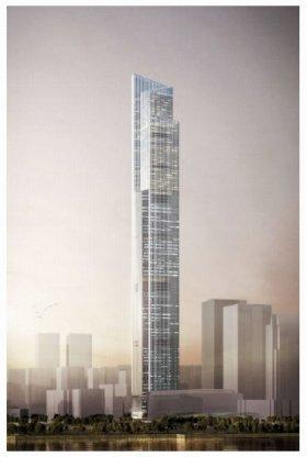 広州周大福金融中心の完成予想図(画像は日立製作所プレスリリースより)