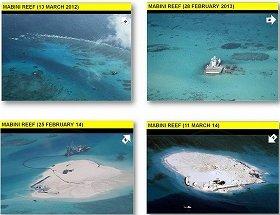 フィリピン外務省が発表したジョンソン南礁の写真。左上が2012年3月、右上が13年2月、左下が14年2月、右下が14年3月。埋め立てが進んでいることがわかる