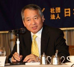 日本外国特派員協会で講演する武貞秀士・拓殖大学海外事情研究所特任教授