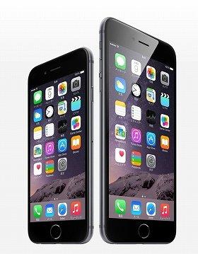 「iPhone6」と「iPhone6 plus」(アップルのサイトより)