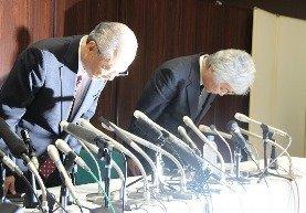 木村社長(左)や9月11日の会見で進退に言及していた